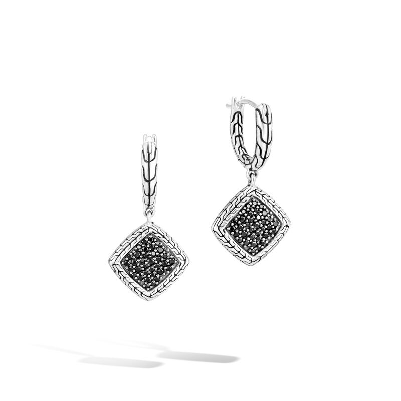 Classic Chain Drop Earrings in Silver , Treated Black Sapphire, large