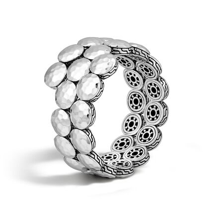Dot Double Coil Bracelet in Hammered Silver