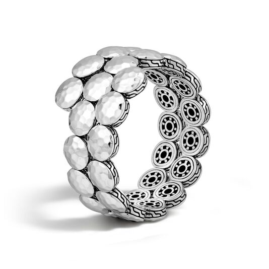 Dot Double Coil Bracelet in Hammered Silver, , large