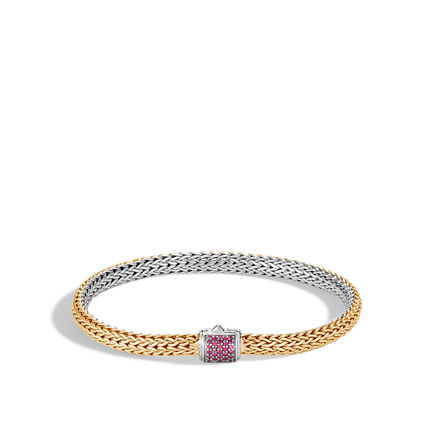 5MM Reversible Bracelet in Silver and 18K Gold with Gemstone