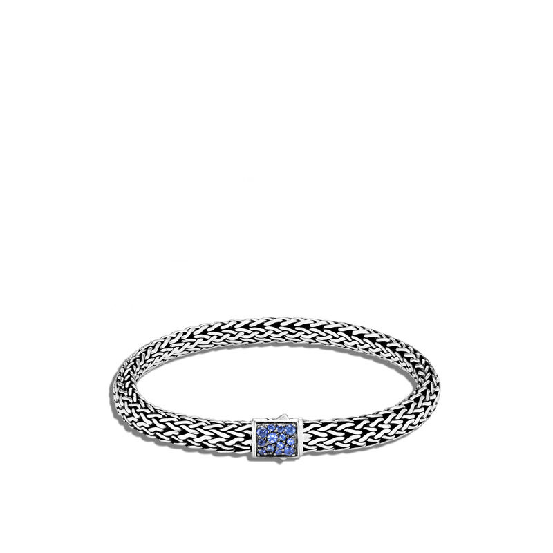 Classic Chain Reversible 6.5MM Bracelet in Silver , Blue Sapphire, large