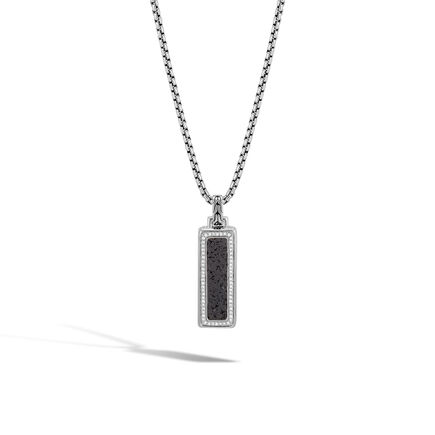 Classic Chain Dog Tag Pendant, Silver, Gemstone, Diamonds