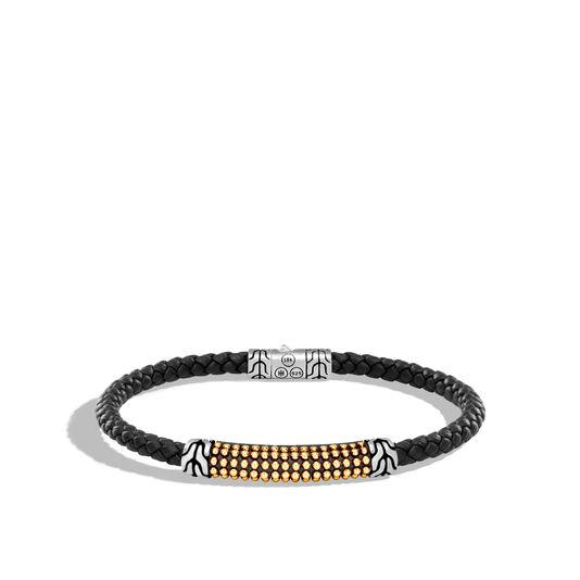 Chain Jawan 4MM Station Bracelet, Silver, 18K Gold, Leather, , large