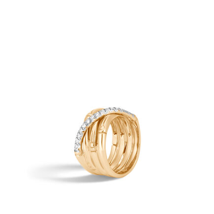 Bamboo 14MM Band Ring in 18K Gold with  Diamonds