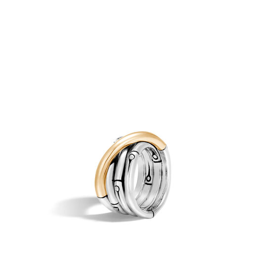 Bamboo 14MM Band Ring in Silver and 18K Gold, , large