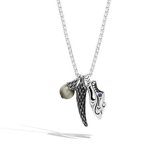 Legends Naga Charm Necklace in Silver with Gemstone, Eagle Eye, large