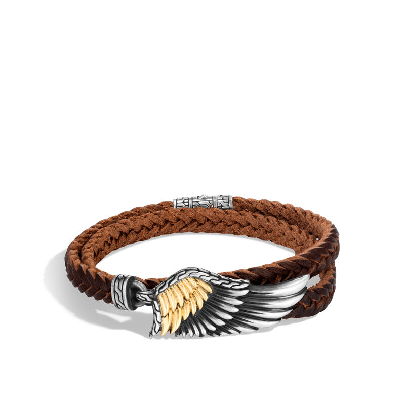 d854090be442e Legends Eagle Wrap Bracelet, Silver and 18K Gold with Leather