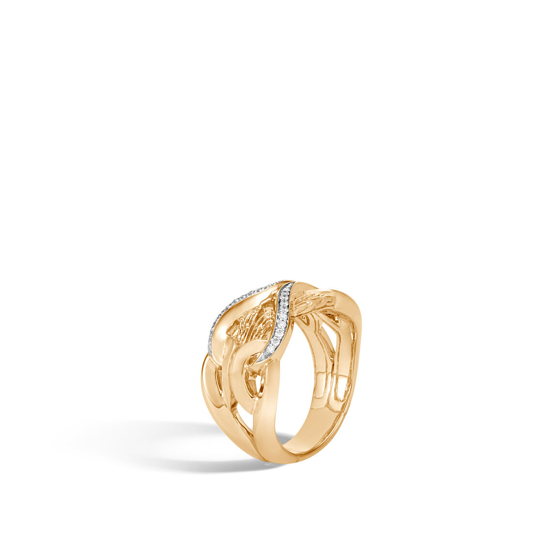 Asli Classic Chain Link 11.5MM Band Ring in 18K Gold with Dia