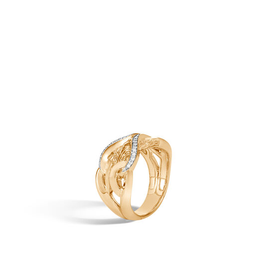 Asli Classic Chain Link 11.5MM Band Ring in 18K Gold with Dia, White Diamond, large