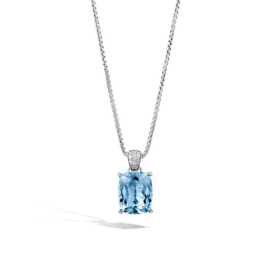 Classic Chain Magic Cut Pendant, Silver, Gemstone, Diamonds, Swiss Blue Topaz, large