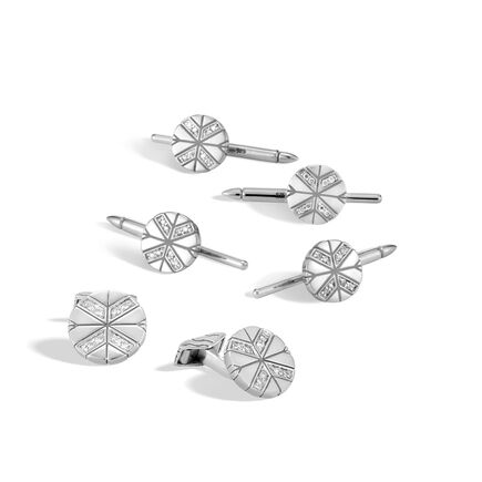 Modern Chain Tuxedo Stud and Cufflinks Set in Silver, Dia