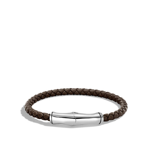 Bamboo 5MM Station Bracelet in Silver and Leather, , large