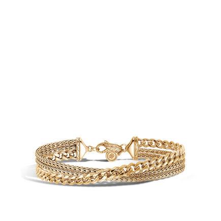 Classic Chain Triple Row Bracelet in 18K Gold