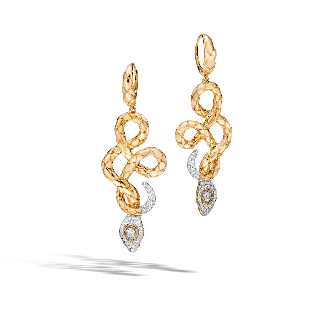 Legends Cobra Drop Earring in 18K Gold with Diamonds