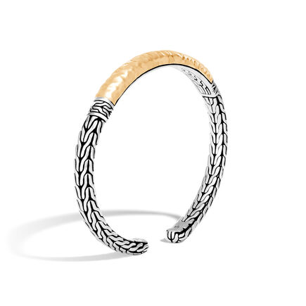 Classic Chain Cuff in Silver and Hammered 18K Gold