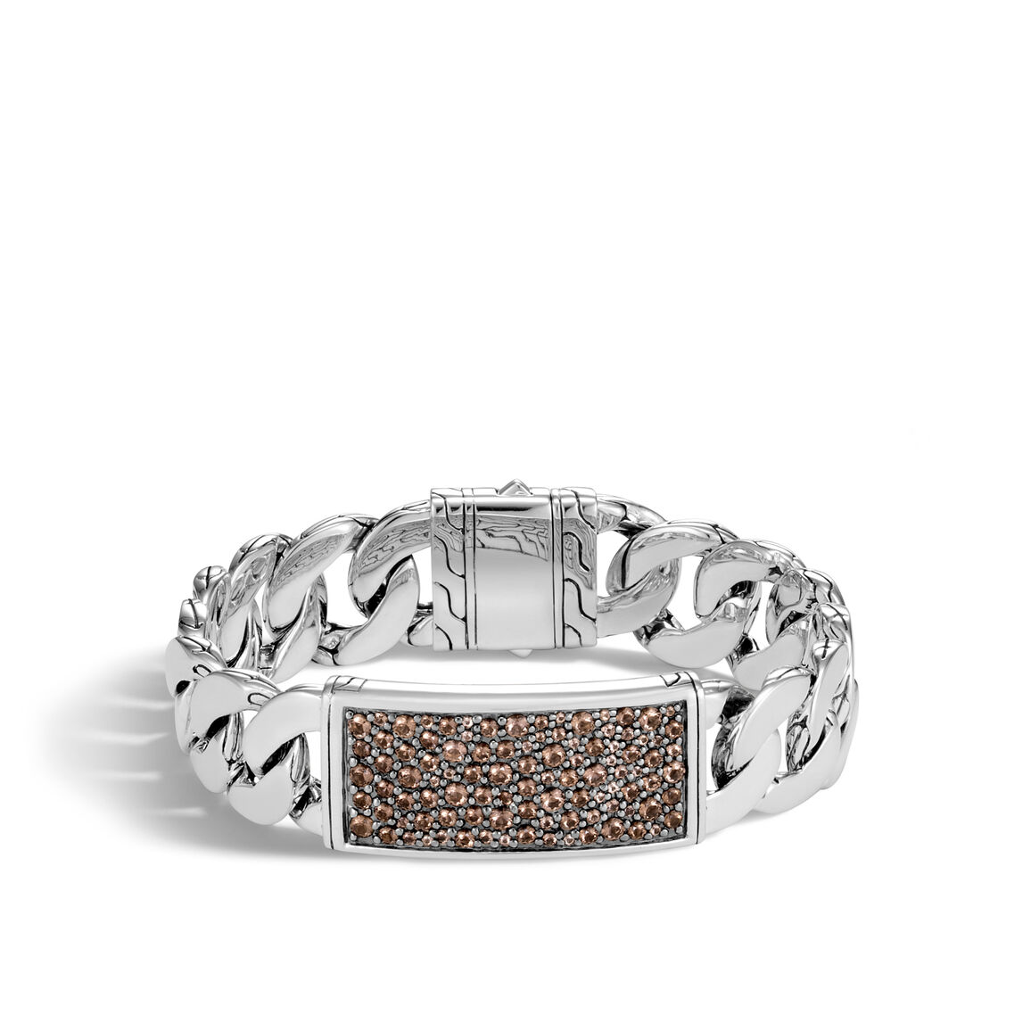 Classic Chain 16.5MM ID Bracelet, Silver with Gemstone