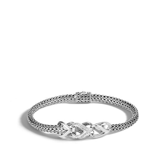 Asli Classic Chain Link 5MM Station Bracelet in Silver, Diamond, White Diamond, large