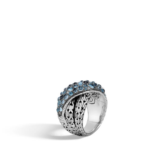 Classic Chain Overlap Ring in Silver with Gemstone, London Blue Topaz, large