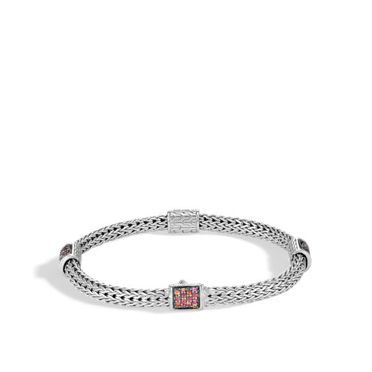 Classic Chain 5MM Bracelet in Silver with Gemstone, Garnet, large