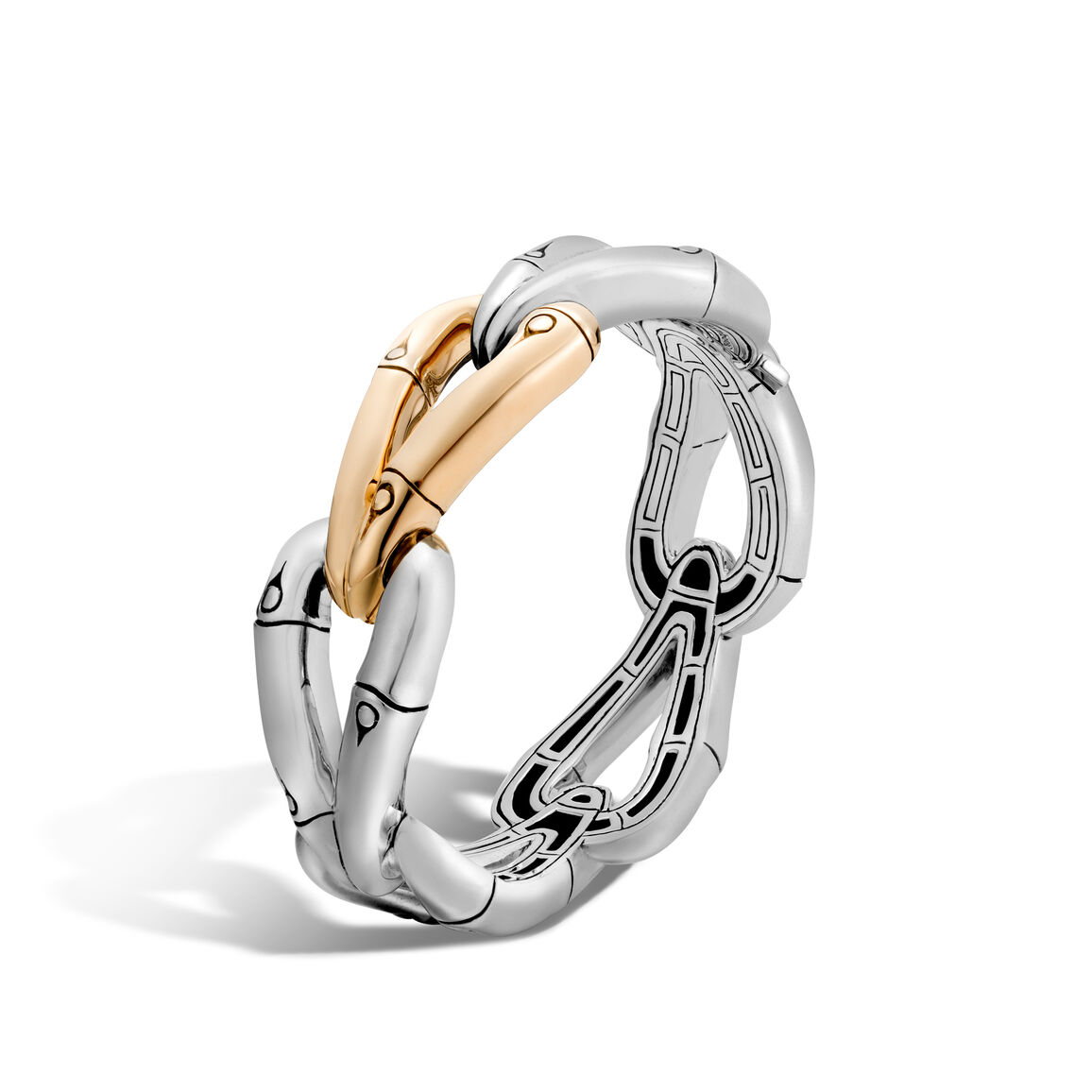 Bamboo 21.5MM Hinged Bangle in Silver and 18K Gold