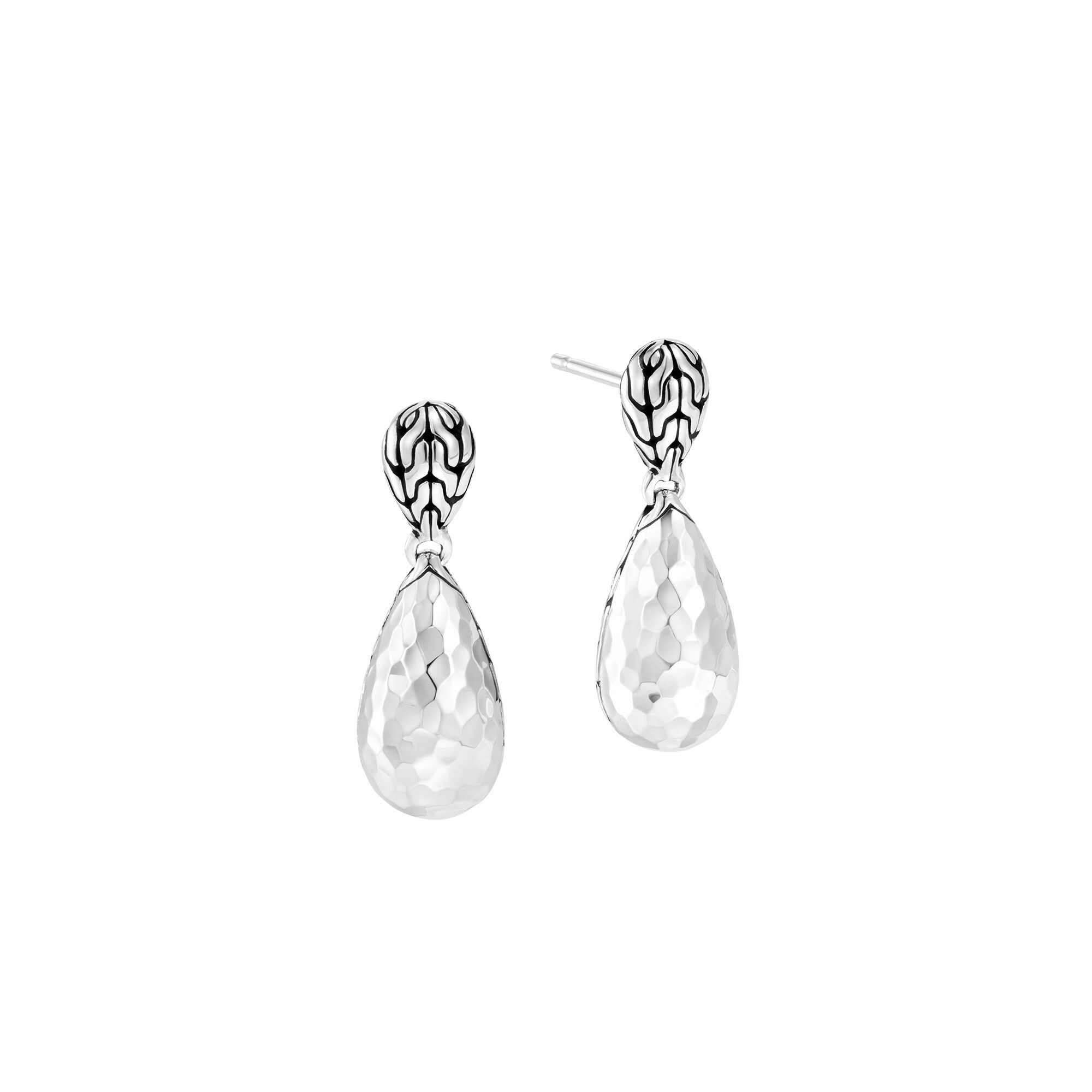 Classic Chain Hammered Silver Drop Earrings, , large