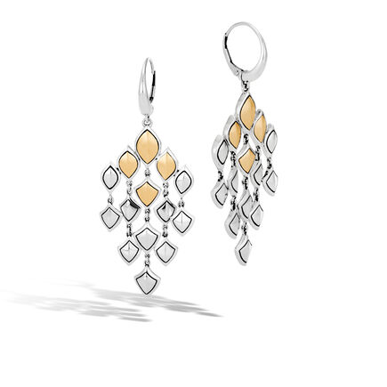 Legends Naga Chandelier Earring in Silver, Brushed 18K Gold