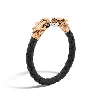 Legends Naga 8MM Double Head Bracelet, Silver, Bronze, Leath