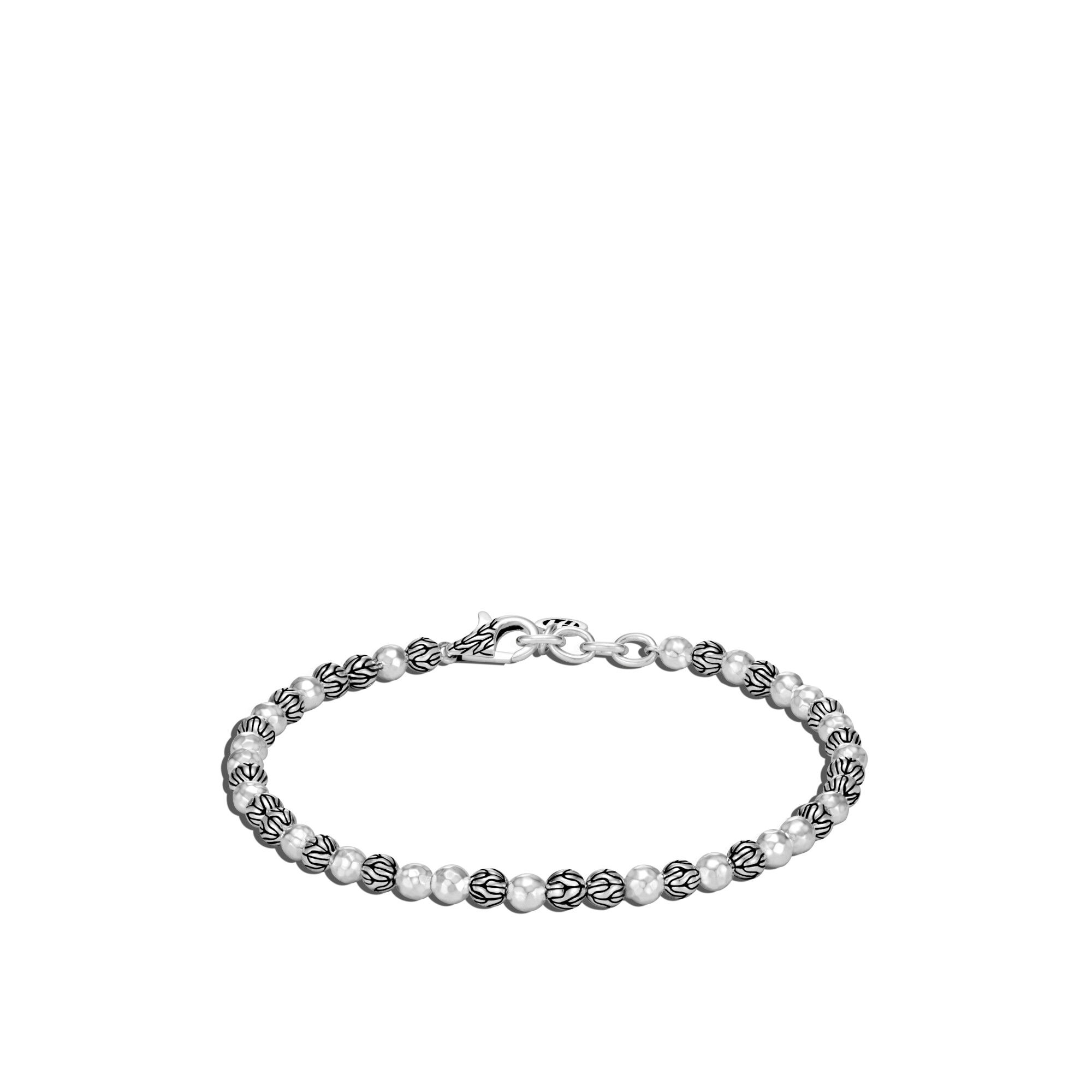 Classic Chain Bead Bracelet, Hammered Silver, , large
