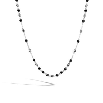 Classic Chain Bead Necklace, Silver with 4MM Gemstone