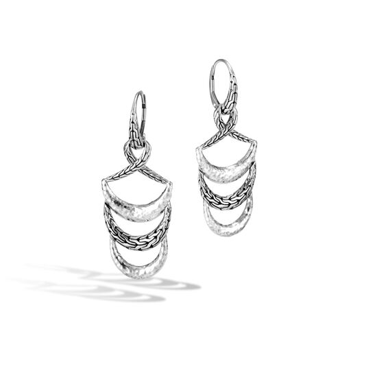 Classic Chain Drop Earring in Hammered Silver, , large