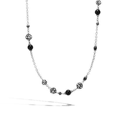 Dot 4MM Station Necklace in Silver with Gemstone