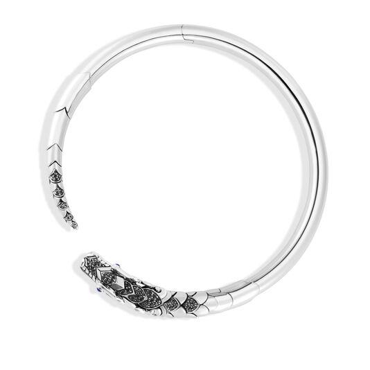 Legends Naga Choker Necklace in Silver with Gemstone, Black Spinel, large