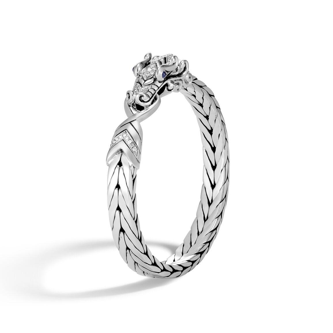 Legends Naga 9MM Station Bracelet in Silver with Diamonds