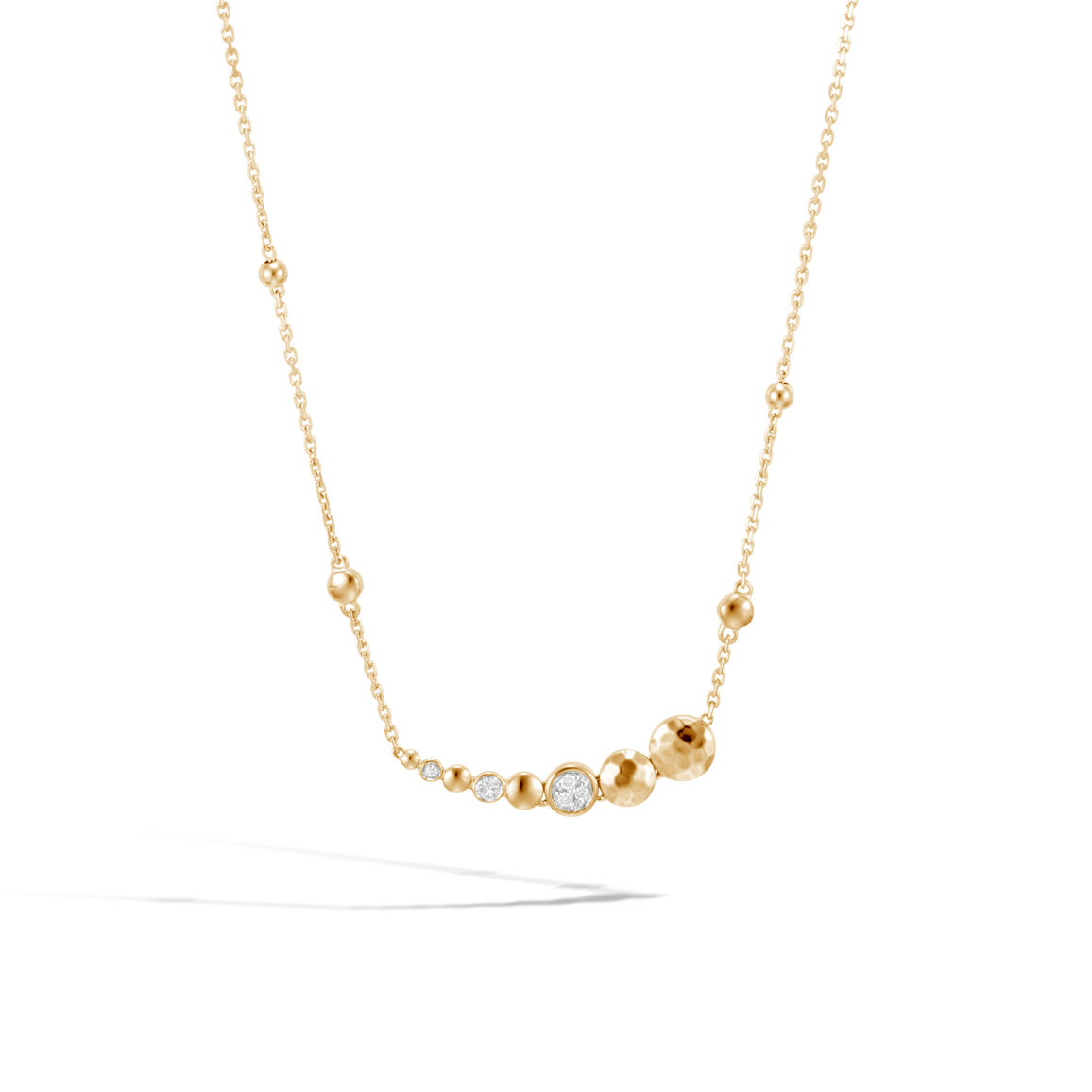 Dot Necklace in Hammered 18K Gold with Diamonds