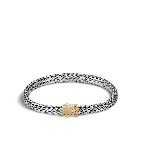 Classic Chain 6.5MM Bracelet in Silver and 18K Gold , , large