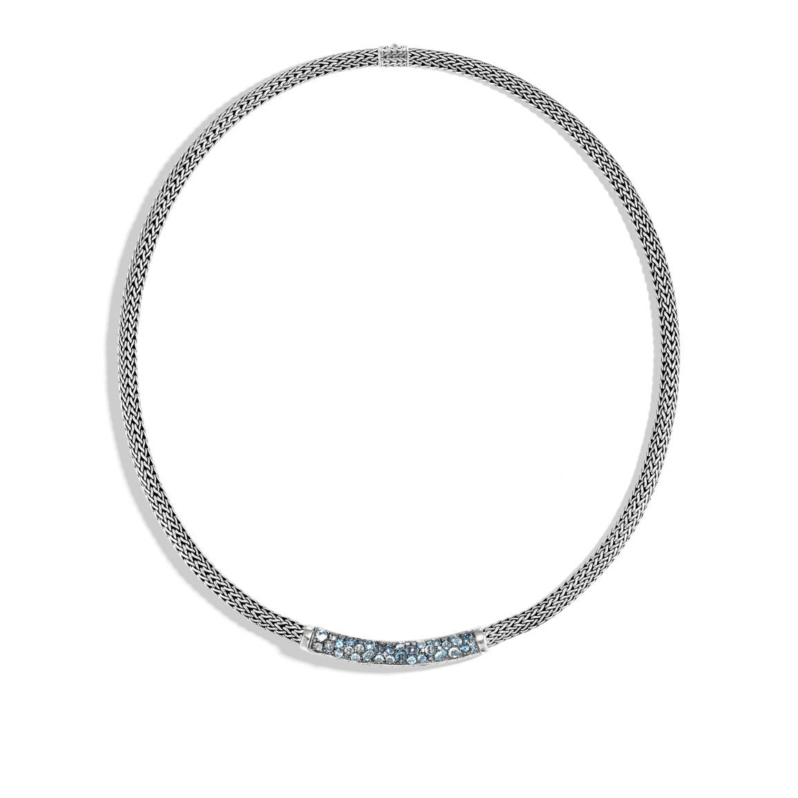 Classic Chain 5MM Station Necklace in Silver with Gemstone