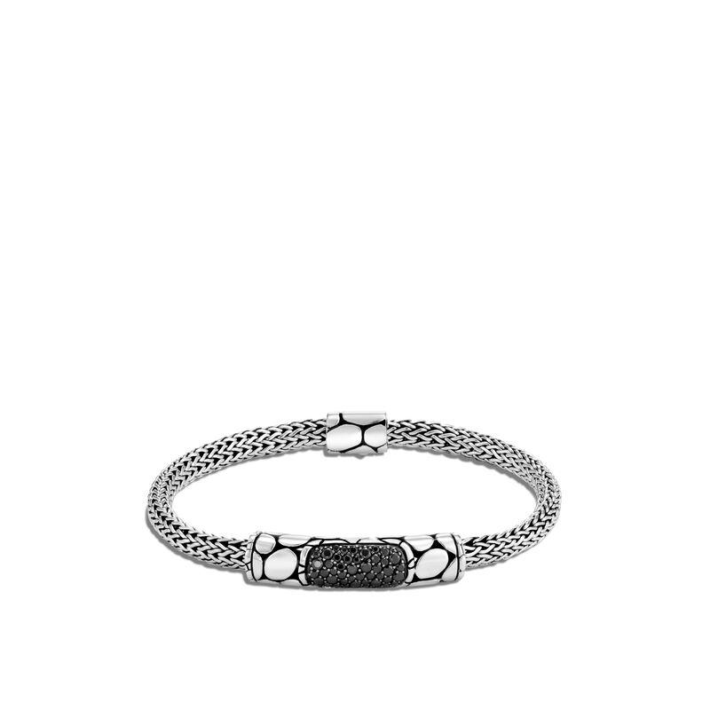 Kali 5MM Station Bracelet in Silver , Treated Black Sapphire, large