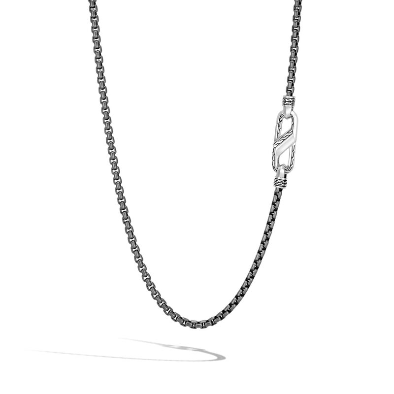 Classic Chain 4MM Box Chain Necklace in Blackened Silver, , large