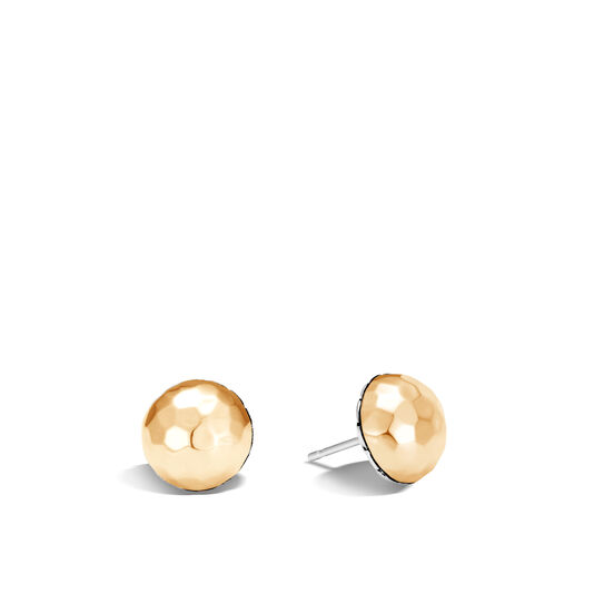 Classic Chain Stud Earring in Silver and Hammered 18K Gold, , large