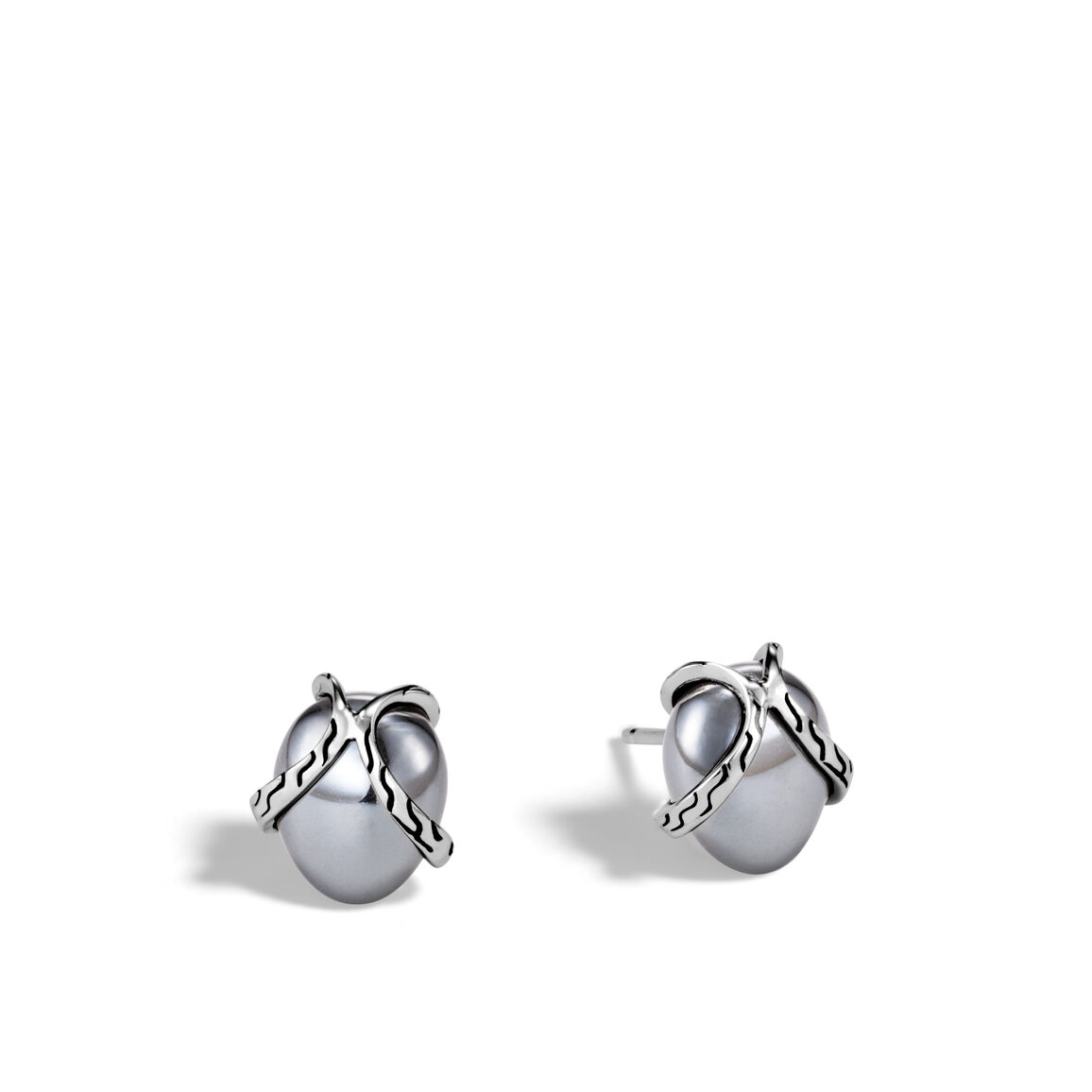 Classic Chain Stud Earring In Silver with 8MM Gemstone