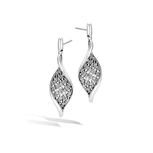 Classic Chain Wave Drop Earring in Silver, , large