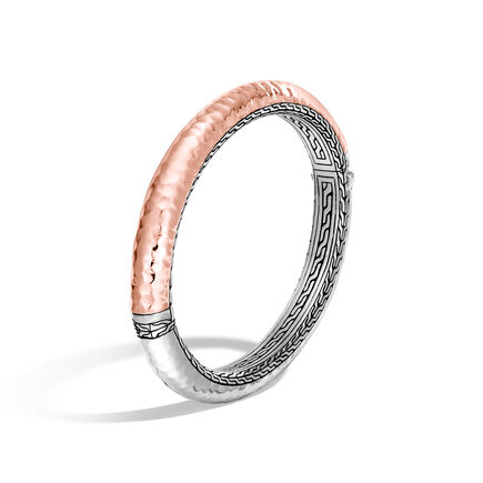 Chain 8.5MM Hammered Hinged Bangle, Silver, 18K Rose Gold