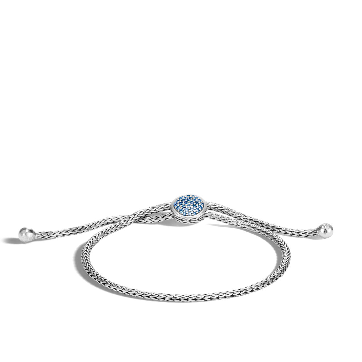 Classic Chain Pull Through Bracelet in Silver with Gemstone
