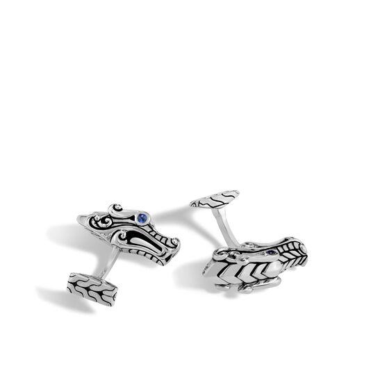 Legends Naga Cufflinks in Silver, Blue Sapphire, large
