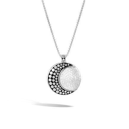 Womens pendants dot moon phase pendant necklace in hammered silver aloadofball Images