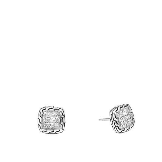 Classic Chain Stud Earrings in Silver with Diamonds, White Diamond, large