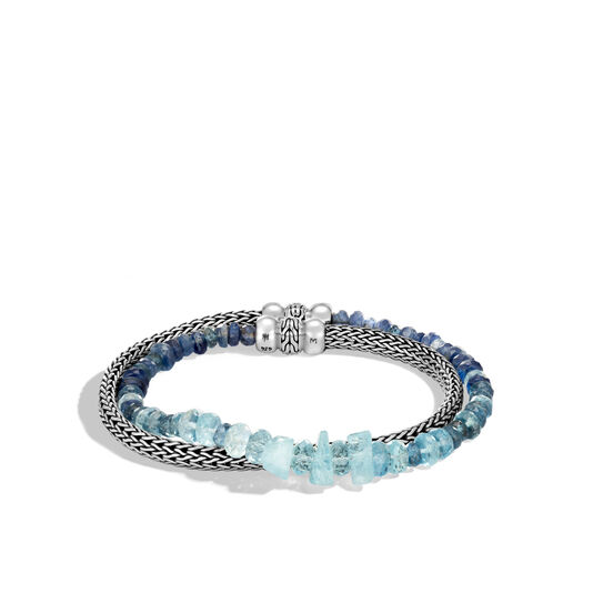 Classic Chain 5MM Double Wrap Bracelet in Silver with Gemstone, Aquamarine, large