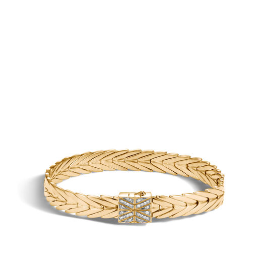 Modern Chain 8MM Bracelet in 18K Gold with Diamonds, White Diamond, large