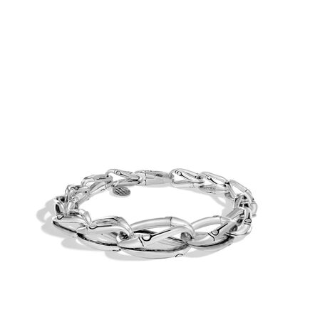 Bamboo 17MM Graduated Link Bracelet in Silver