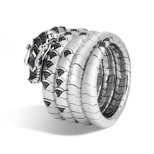 Legends Naga Multi Coil Bracelet in Silver with Gemstone, Black Spinel, large